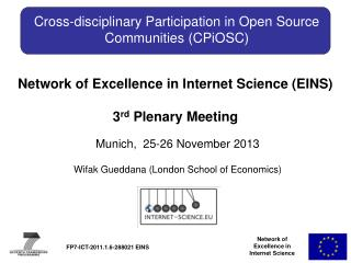 Cross-disciplinary  Participation in Open Source  Communities ( CPiOSC )