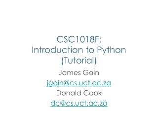CSC1018F:  Introduction to Python (Tutorial)