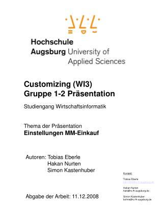 Customizing (WI3) Gruppe 1-2 Präsentation Studiengang Wirtschaftsinformatik Thema der Präsentation
