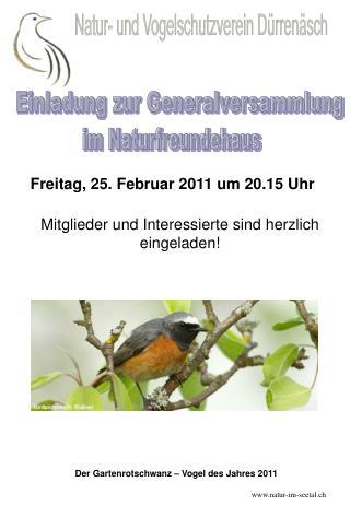 Der Gartenrotschwanz – Vogel des Jahres 2011