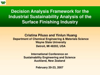 Cristina Piluso and Yinlun Huang Department of Chemical Engineering & Materials Science