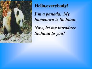 Hello,everybody! I`m a panada.  My hometown is Sichuan. Now, let me introduce Sichuan to you!