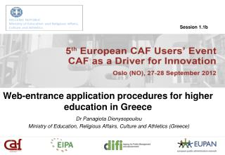 Web-entrance application procedures for higher education in Greece