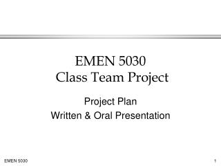 EMEN 5030  Class Team Project