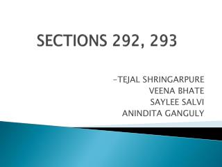 SECTIONS 292, 293
