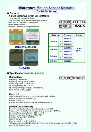 Microwave Motion Sensor Modules (DNS-000 Series)