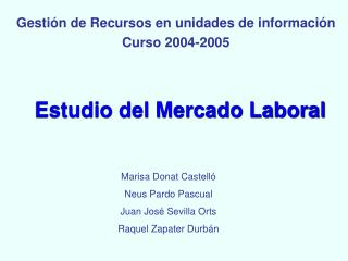 Estudio del Mercado Laboral