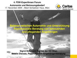 Sigrid Boschert, Caritas der ED Wien Mobile Dienste, Psychosoziale Angehörigenberatung