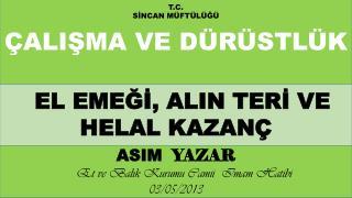 ASIM   YAZAR      Et ve Balık Kurumu Camii  Imam Hatibi                    17/01/2014