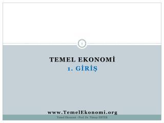 TEMEL EKONOMİ 1. GİRİŞ TemelEkonomi