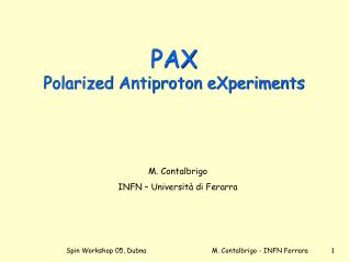 PAX Polarized Antiproton eXperiments