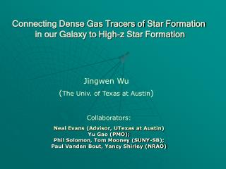 Connecting Dense Gas Tracers of Star Formation  in our Galaxy to High-z Star Formation