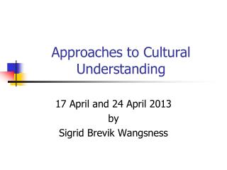 Approaches to Cultural Understanding