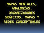 Mapas mentales, analog as, organizadores gr ficos, mapas y redes conceptuales