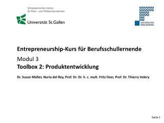 Entrepreneurship-Kurs für Berufsschullernende Modul 3 Toolbox 2: Produktentwicklung