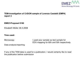 TEM-investigation of CrSiON sample of Lorenzo Castaldi (EMPA) report 3 EMEZ-Proposal 0190