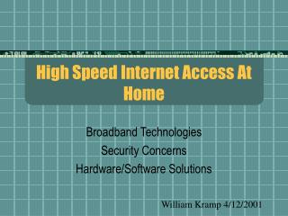 High Speed Internet Access At Home