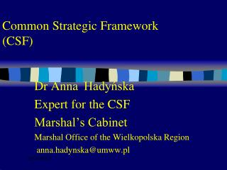 Common Strategic Framework (CSF)
