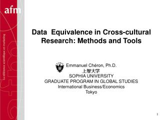 Data  Equivalence in Cross-cultural Research: Methods and Tools
