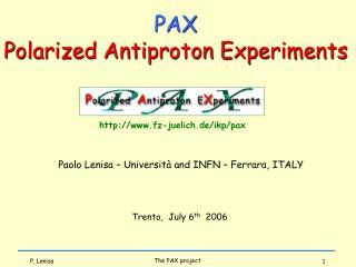 Paolo Lenisa – Università and INFN – Ferrara, ITALY