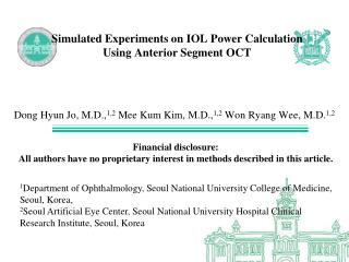 Simulated Experiments on IOL Power Calculation  Using Anterior Segment OCT