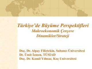 Türkiye'de Büyüme Perspektifleri Makroekonomik Çerçeve Dinamikler/Strateji
