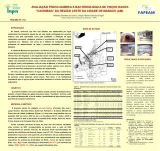 AVALIAÇÃO FÍSICO-QUÍMICA E BACTERIOLÓGICA DE POÇOS RASOS