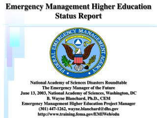 Emergency Management Higher Education Status Report
