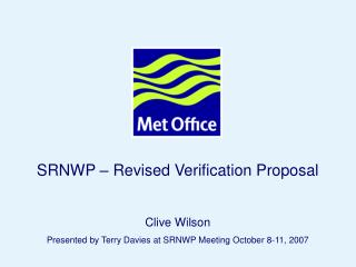 SRNWP – Revised Verification Proposal