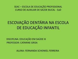 ESCOVAÇÃO DENTÁRIA NA ESCOLA DE EDUCAÇÃO INFANTIL