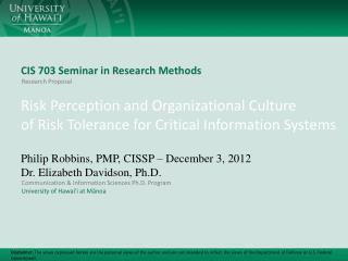 CIS 703 Seminar in Research Methods