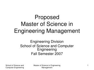 Proposed Master of Science in Engineering Management