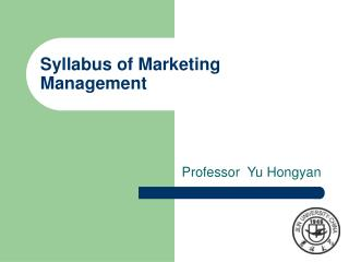 Syllabus of Marketing Management