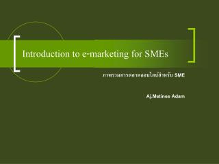 Introduction to e-marketing for SMEs
