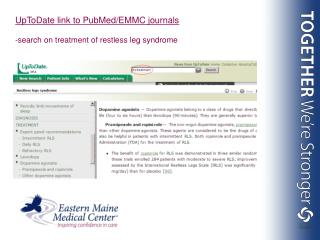 UpToDate link to PubMed/EMMC journals -search on treatment of restless leg syndrome