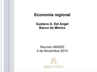 Economía regional Gustavo A. Del Angel Banco de México Reunión AMSDE 5 de Noviembre 2010