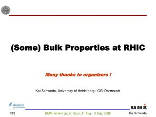 (Some) Bulk Properties at RHIC