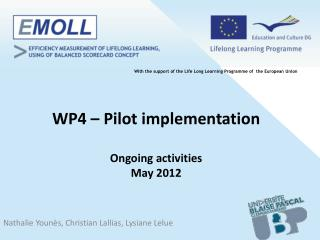 WP4 – Pilot implementation Ongoing activities May 2012