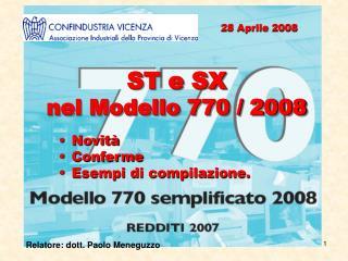 ST e SX  nel Modello 770 / 2008