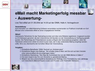 eMail macht Marketingerfolg messbar -  Auswertung-