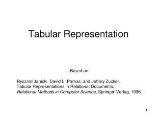 Tabular Representation