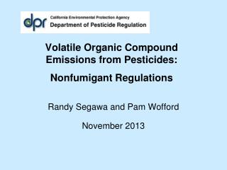 Volatile Organic Compound  Emissions from Pesticides:  Nonfumigant Regulations