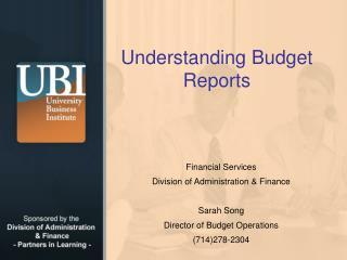 Understanding Budget Reports