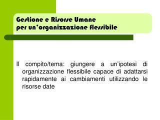 Gestione e Risorse Umane per un�organizzazione flessibile
