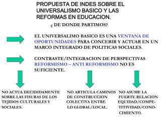 PROPUESTA DE INDES SOBRE EL  UNIVERSALISMO BASICO Y LAS REFORMAS EN EDUCACION.