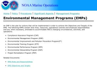 Environmental Management Programs (EMPs)