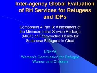 Inter-agency Global Evaluation of RH Services for Refugees and IDPs