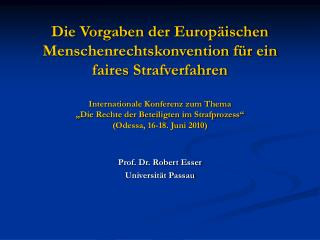 Prof. Dr. Robert Esser Universität Passau