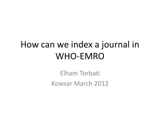 How can we index a journal in WHO-EMRO