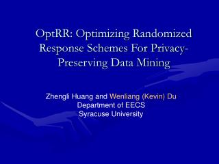 OptRR: Optimizing Randomized Response Schemes For Privacy-Preserving Data Mining